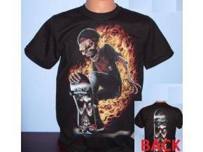 tričko, skejťák, skateboard, plameny, prkno, černé