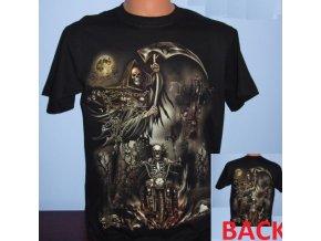 tričko, smrt, kostlivec, motorka, svítící, fluorescenční potisk