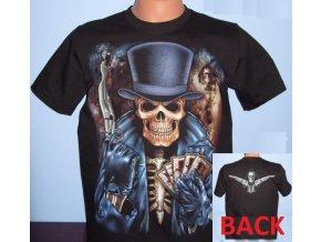 tričko, lebka, kolty, karty, western, pistolník