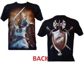 tričko, rytíř, lebka, meč, štít, sekera