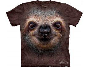 Dětské bavlněné tričko s batikovaným 3D potiskem lenochoda