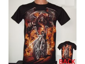 tričko, smrt, plameny, jezdec, chopper, motorka