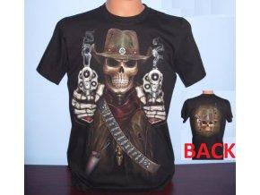 tričko, western, kolty, pistolník, svítící, fluorescenční potisk