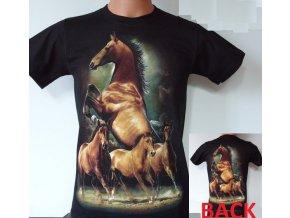 tričko, koně, rock eagle, černé, svítící, fluorescenční potisk
