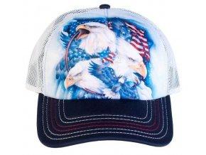 Kšiltovka s potiskem amerických orlů a vlajky