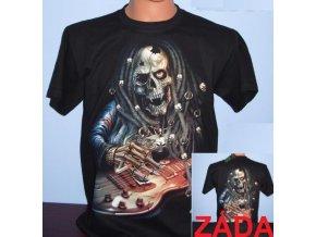 tričko, kostlivec, kytara, černé, svítící, fluorescenční potisk