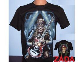 tričko, lebka, kostlivec, kytara, metalové, horor