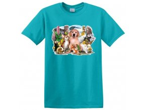 Levné dětské tričko s UV potiskem pejska a zvířátek