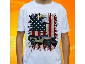 tričko, dětské, pánské, potisk, military, jeep willys