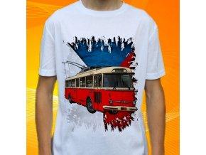 tričko, dětské, pánské, potisk, trolejbus, mhd