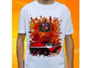 tričko, dětské, pánské, potisk. hasičské auto, obojživelné