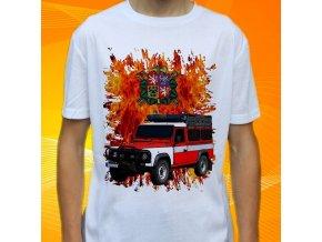 tričko, dětské, pánské, potisk. hasičské auto, land rover