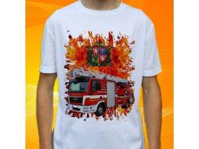 tričko, dětské, pánské, potisk. hasičské auto, žebřík
