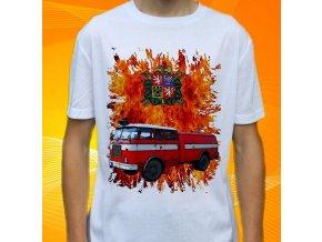 tričko, dětské, pánské, potisk. hasičské auto, škoda