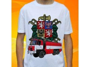 tričko, dětské, pánské, potisk. hasičské auto, stříkačka