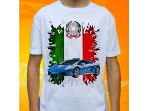 tričko, dětské, pánské, potisk, policie itálie, lotus