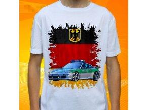 tričko, dětské, pánské, potisk, policie německo, porsche