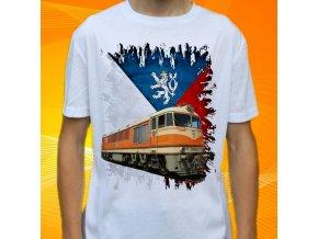tričko, dětské, pánské, potisk, lokomotiva, pomeranč