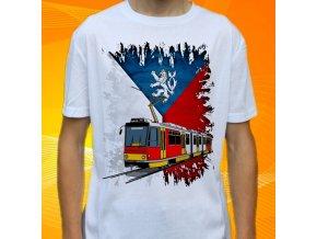 tričko, dětské, pánské, potisk, tramvaj, mhd