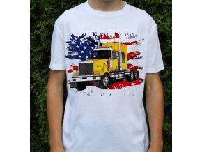 tričko, americký tahač, kamion, potisk, kenworth žlutý