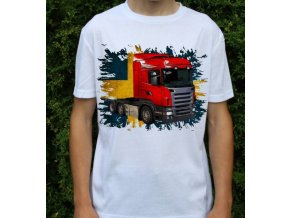 tričko, tahač, kamion, potisk, scania červený