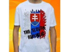 tričko, dětské, pánské, potisk, vlajka, slovensko
