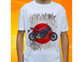Dětské a pánské tričko s motorkou Yamaha FZ07ABS ČERVENÁ