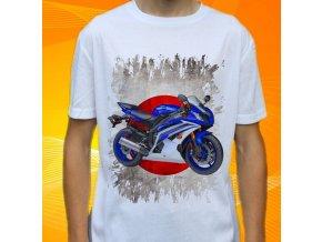 Dětské a pánské tričko s motorkou Yamaha YZFR6 MODRÁ