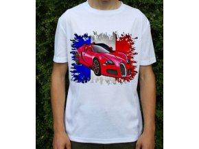Dětské a pánské tričko s autem Bugatti Veyron červené