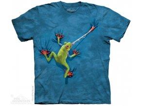 dětské tričko-lovící žába-batikované-potisk-mountain