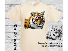 tygr natural tričko menici potisk
