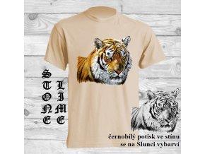 tricko natural hlava tygra