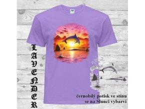 levandulove tricko delfin slunce
