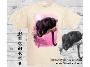 cerny panter natural tričko uv potisk