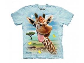 tričko, vtipné, selfie žirafy, potisk, mountain, dětské