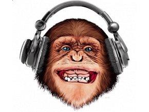 pánské, 3D, tričko, potisk, vtipné, opice, sluchátka