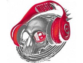 Pánské 3D tričko s potiskem lebky, sluchátek
