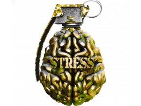 Pánské vtipné tričko s potiskem mozku jako granát Stress