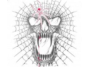 Pánské tričko s potiskem lebky z pavučin