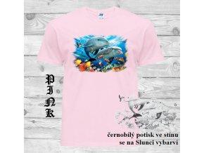 levné-dětské-tričko-delfín-modré-UV potisk