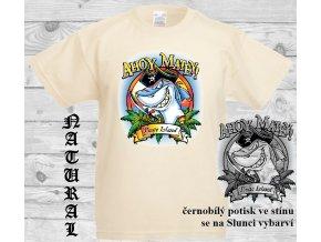 dětské, tričko, bavlněné, potisk, sluneční, pirát, žralok