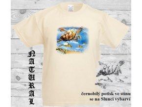 dětské, tričko, bavlněné, potisk, sluneční, želvy