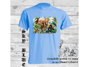dětské, tričko, bavlněné, potisk, sluneční, slon, zvířátka