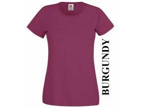 dámské, tričko, jednobarevné, bavlněné, vínové, burgundy