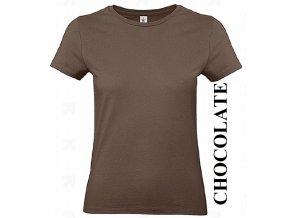 dámské, tričko, jednobarevné, bavlněné, čokolodádově hnědé