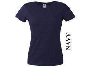 dámské, tričko, jednobarevné, bavlněné, tmavě modré