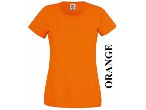 dámské, tričko, jednobarevné, bavlněné, oranžové