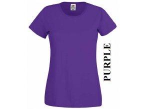 dámské, tričko, jednobarevné, bavlněné, purpurově fialové