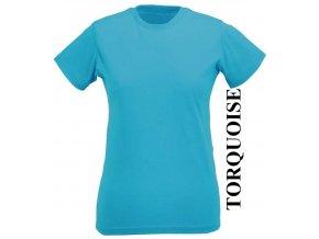 dámské, tričko, jednobarevné, bavlněné, tyrkysové