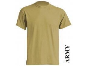 pánské, tričko, jednobarevné, bavlněné, army hnědé